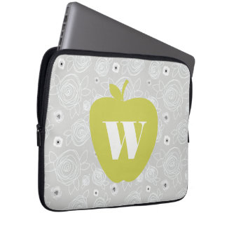 Yellow Apple Floral Electronics Bag For Teachers Computer Sleeves