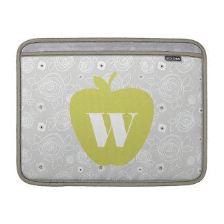 Yellow Apple & Floral Teacher Macbook Air Sleeve