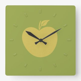 Yellow Apple Fruit Green Square Wall Clock