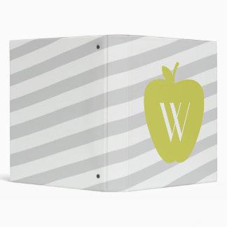 Yellow Apple Gray Striped Binder For Teachers