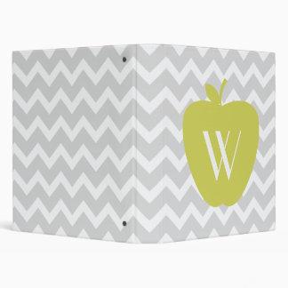Yellow Apple Gray Zigzag Binder For Teachers