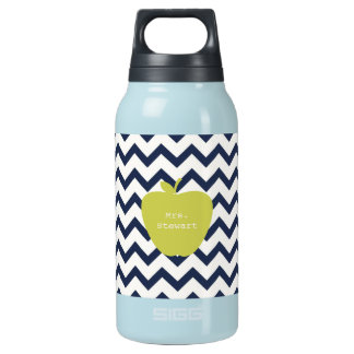 Yellow Apple & Navy Chevron Teacher Insulated Water Bottle