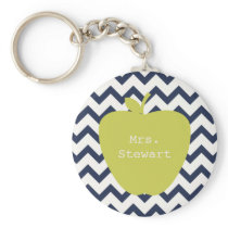 Yellow Apple & Navy Chevron Teacher Keychain