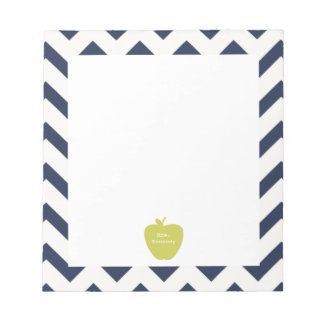 Yellow Apple Navy Chevron Teacher Notepad