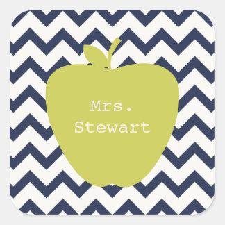 Yellow Apple & Navy Chevron Teacher Square Sticker