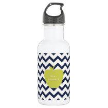 Yellow Apple & Navy Chevron Teacher Stainless Steel Water Bottle