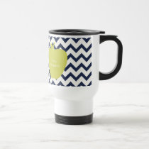 Yellow Apple & Navy Chevron Teacher Travel Mug