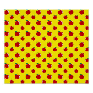 Yellow apple pattern poster