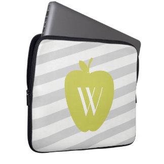 Yellow Apple Stripes Electronics Bag For Teachers Laptop Sleeve
