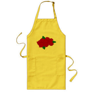 Yellow Apron with red Flowers