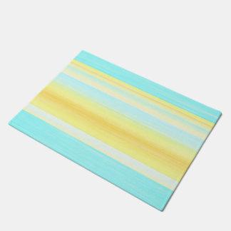 Yellow Aqua Turquoise Summer Watercolor Stripes Doormat