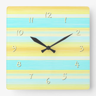 Yellow Aqua Turquoise Summer Watercolor Stripes Square Wall Clock