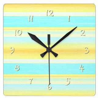 Yellow Aqua Turquoise Summer Watercolor Stripes Square Wall Clock