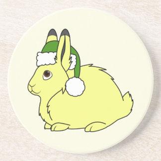 Yellow Arctic Hare with Christmas Green Santa Hat Coaster