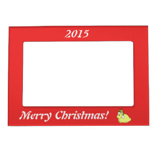 Yellow Arctic Hare with Christmas Green Santa Hat Magnetic Picture Frames