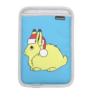 Yellow Arctic Hare with Christmas Red Santa Hat iPad Mini Sleeve