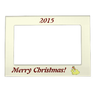 Yellow Arctic Hare with Christmas Red Santa Hat Magnetic Picture Frames