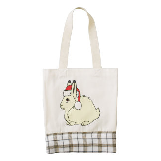 Yellow Arctic Hare with Christmas Red Santa Hat Zazzle HEART Tote Bag