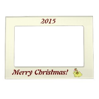 Yellow Arctic Hare with Santa Hat & Gold Bell Photo Frame Magnets