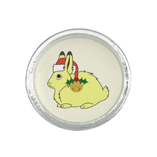 Yellow Arctic Hare with Santa Hat & Gold Bell Photo Rings