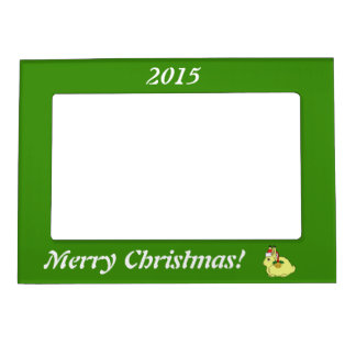 Yellow Arctic Hare with Santa Hat & Gold Bell Picture Frame Magnet
