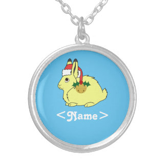 Yellow Arctic Hare with Santa Hat & Gold Bell Round Pendant Necklace