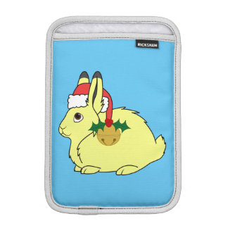 Yellow Arctic Hare with Santa Hat & Gold Bell Sleeve For iPad Mini