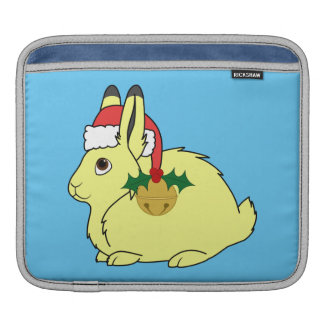 Yellow Arctic Hare with Santa Hat & Gold Bell Sleeve For iPads