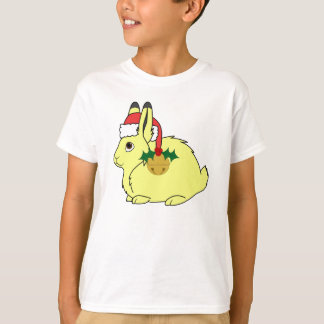 Yellow Arctic Hare with Santa Hat & Gold Bell T-Shirt