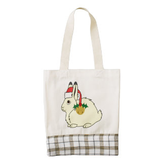 Yellow Arctic Hare with Santa Hat & Gold Bell Zazzle HEART Tote Bag