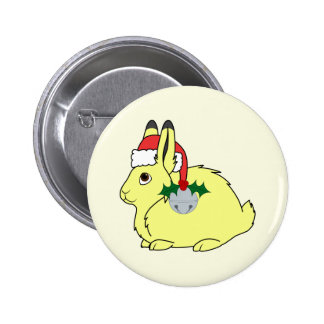 Yellow Arctic Hare with Santa Hat & Silver Bell Button