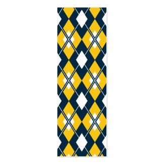 Yellow Argyle Bookmark Mini Business Card