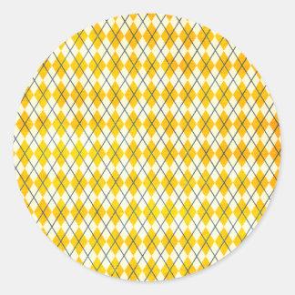 Yellow Argyle Classic Round Sticker