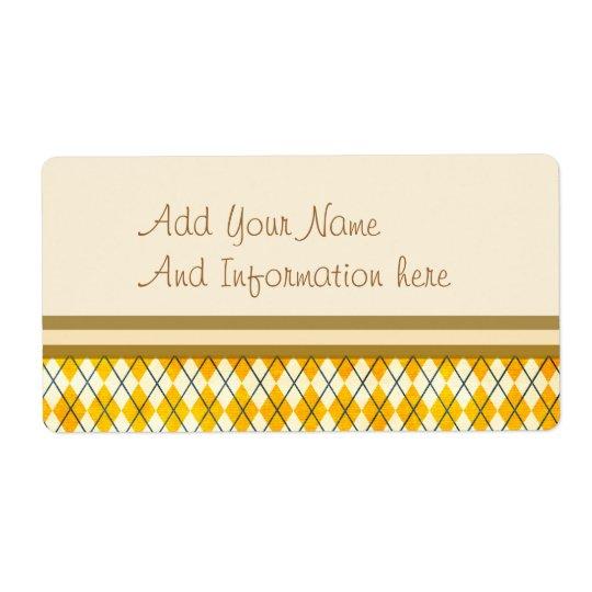 Yellow Argyle Label
