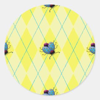 Yellow Argyle Ladybug Classic Round Sticker