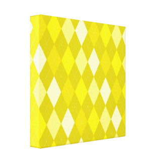 Yellow argyle pattern canvas print