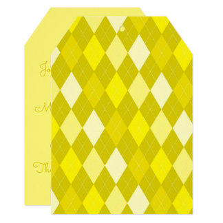 Yellow argyle pattern card