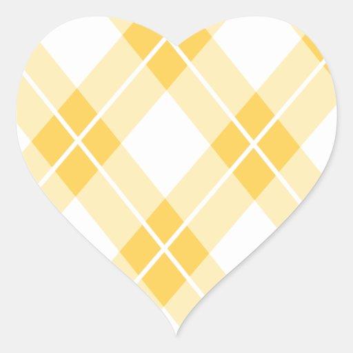 Yellow Argyle Pattern Heart Sticker