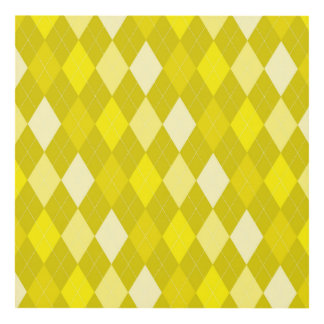 Yellow argyle pattern panel wall art