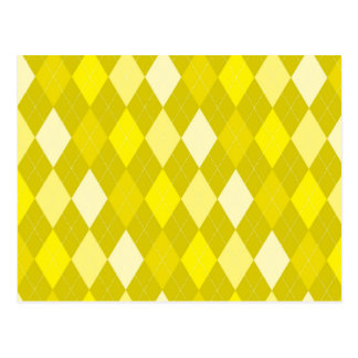 Yellow argyle pattern postcard