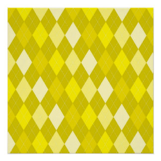 Yellow argyle pattern poster
