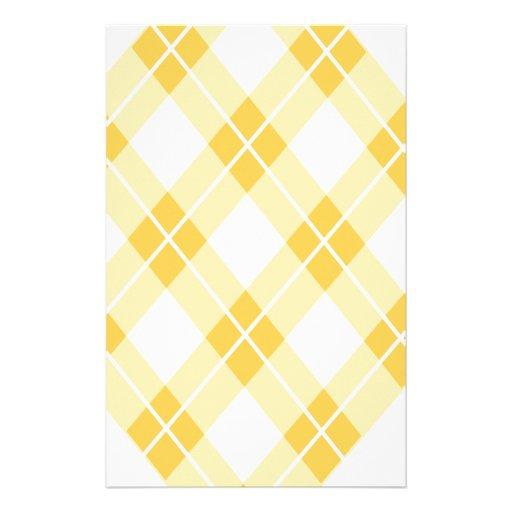 Yellow Argyle Pattern Stationery