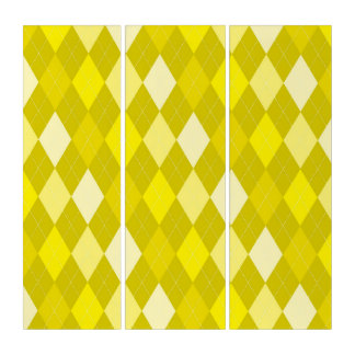 Yellow argyle pattern triptych