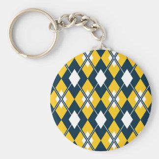 Yellow Argyle Preppy Keychain