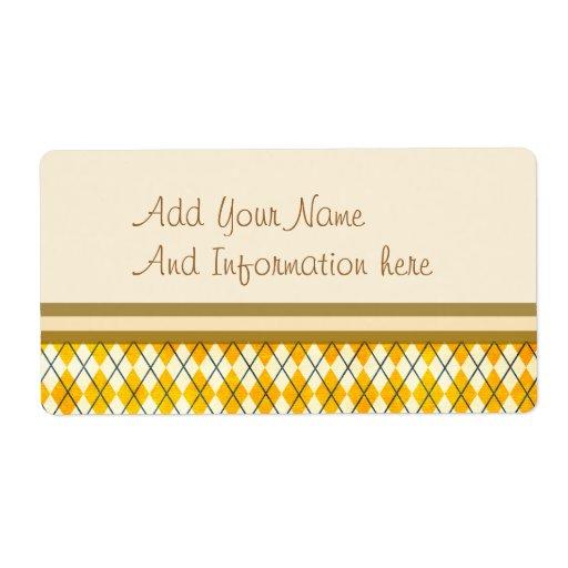 Yellow Argyle Shipping Label