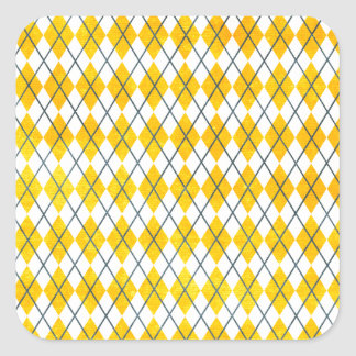 Yellow Argyle Square Sticker