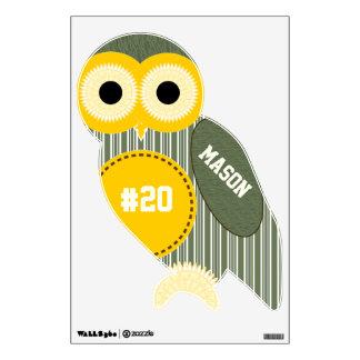 Yellow Army Green Stripe Pattern Owl Wall Decal