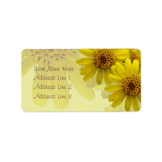 Yellow Arnica Blossoms Collage Label