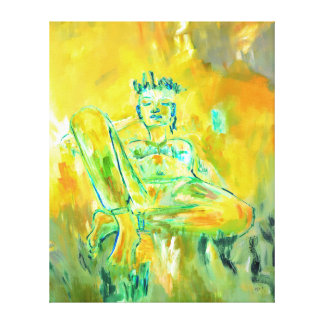 Yellow Art Contemporary Woman in the Meadow Canvas Print