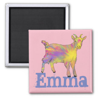 Yellow Art Goat Standing On Design With Your Name Magnet